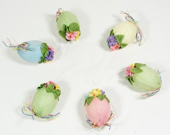 Vintage Pastel Paper-wrapped Easter Eggs with Flowers
