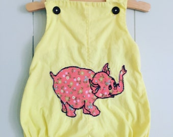 Pink Elephant Handmade Vintage Sunsuit Romper in Yellow