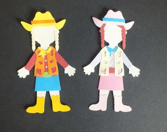 2 Assembled COWGIRLS Greeting Cards Scrapbooking Dress up dolls