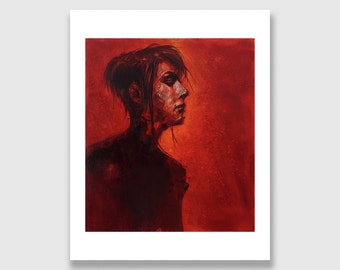Dark Fantasy Art Print. Giclée 8in x 10in. Gothic portrait, Red Witch, Archival
