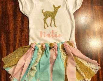 Glitter fawn outfit personalized