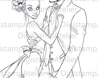Wedding Couple. INSTANT DOWNLOAD Digital Digi Stamps.
