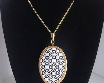 Black and White Blackwork Art Deco Vintage Style Hand Stitched Embroidered Pendant Necklace / Mothers Day Gift / Gift for Her / Retro Style