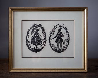 Victorian Black and White Silhouette Framed