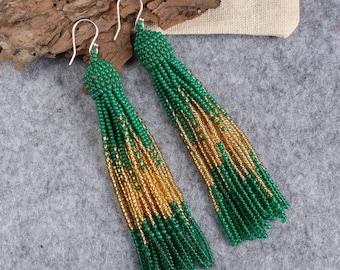 Gold green beaded tassel earrings,Beaded earrings in Oscar de La Renta style, long tassel beaded earrings, oscar de la renta tassel earrings