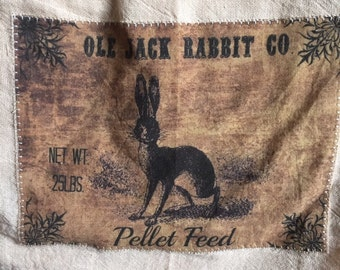 Jack rabbit floursack tea towel