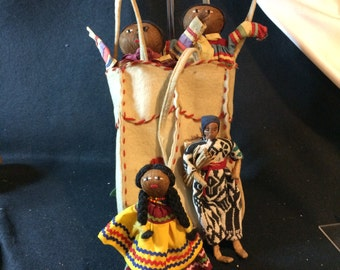 Vintage, hand made, American Indian, SEMINOLE  Male, Female Dolls, in Carrier,  Palm Fiber, plus 2 more dolls