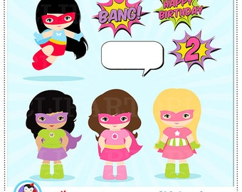 Girl Superhero Clip Art / Super hero Girls Digital clipart / Supergirls Clipart for personal and commercial use
