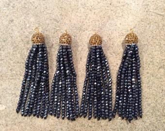 gold/hematite pave crystal tassel jewelry making wholesale