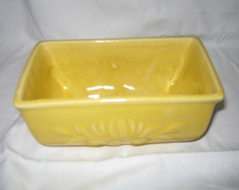 Yellow Planter/ Ceramic Planter/ Mid Century Stoneware/Made in USA c.1950s /Embossed Design/ JUST REDUCED/By Gatormom13