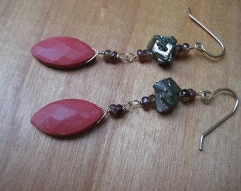 Insouciant Studios Badlands Earrings Sapphire Pyrite Chalk Coral