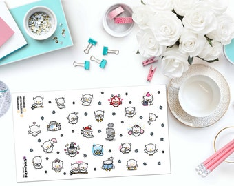 KAWAII WINTER OWLS Paper Planner Stickers!
