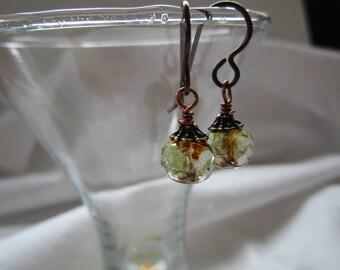 Tiny Prettiness 1 Inch Green Czech Glass *Sale* Earrings Sparkly Feminine & Simple Hypoallergenic Niobium Ear Wires Pretty Organic Earrings