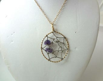 a432 Unique Gold Filled Spider Web Pendant necklace with two Amethyst Stones