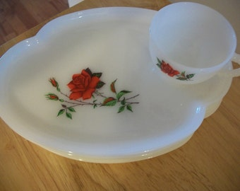 Vintage milk glass luncheon set