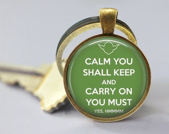 Star Wars Inspired Yoda Carry On Quote Glass Pendant, Photo Glass Necklace, Glass Keychain