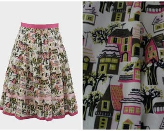 SALE! 90s Vintage Skirt. Rockabilly Skirt.Pinup Skirt. Novelty Print Skirt. Size Small.Retro Clothing.Pinup Girl Clothing