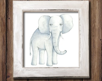 Giclee Art Print - Sweet Elephant Watercolor - Animal Painting Print - Original Art by Angela Weber