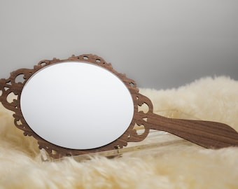 Vintage Hand Mirror - Wooden Hand Mirror - Wedding Gift - Hand Mirror - Acrylic Mirror - Acrylic Hand Mirror - Handheld Mirror - Vintage