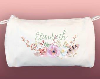Monogram Bridesmaid Makeup Bag Gift Flowers Feather WaterColors | Your Name Cosmetic Bag | Mother of the Bride Personalized Zippered Zip Bag
