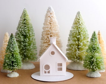 Putz House Ornament DIY Kit Christmas Decoration Cottage Glitter House Paper Craft Kit Christmas Mantle Decor