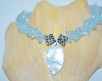 Ankle Bracelet Blue Glass Chips, Glass Chip Anklet, Blue Bead Anklet
