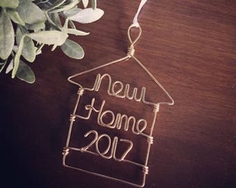 New Home Ornaments - Gold or Silver Wire Ornaments for Holidays, Wedding/ Engagement/ Bridal Shower Gift