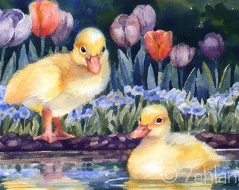 Duckling Print 8x10 Printed Baby Animal Duck Nursery Art for Kids by Janet Zeh Zehland