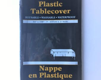 Large solid black plastic tablecloth