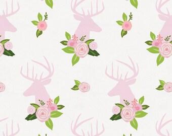 Pink Floral Deer Head Organic Fabric - By The Yard - Girl / Animal Print