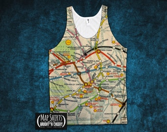 London Underground Tank Top All Over Print, Vintage Map, Vintage London Map, London Tank Top