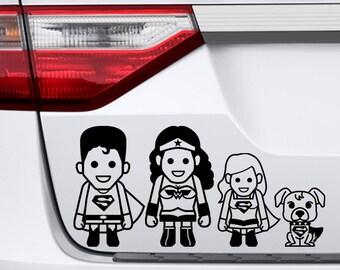 Family Car Vinyl Decal - Super Heroes