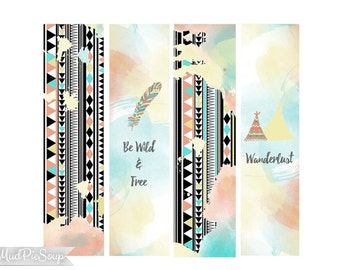 Printable Bookmarks - Tribal Boho Aztec Pattern - Watercolor Feathers Teepee Phrases