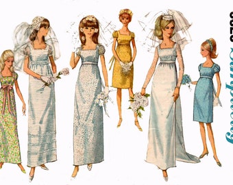 Simplicity 6823 Womens Wedding or Bridesmaids Dress Sleeveless or Puff Sleeves 60s Vintage Sewing Pattern Size 11 Bust 31 1/2 inches