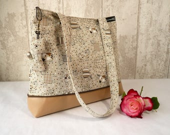 """Handbag in imitation leather and beige cotton """"Oh the cow"""""""