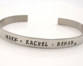 Personalized Mom Bracelet, Stainless Steel Cuff Bracelet, Hand Stamped Jewelry, Personalized Jewelry, Custom Bracelet, Personalized Bracelet