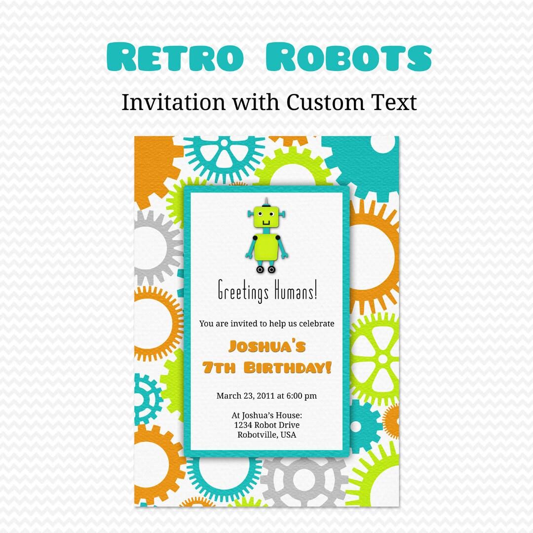 Retro robots birthday party invitation boy baby shower invite zoom filmwisefo