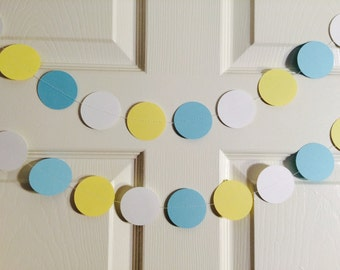 Baby Blue, Yellow, and White Paper Garlands for Party/Shower Decoration