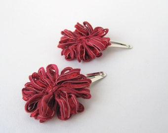 Flower Hair Clips, dark red