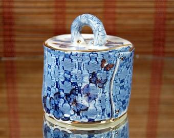 Sugar Pot in Parisian Blue Butterfly Matrix design