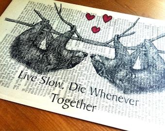 Wedding Gift   Gift for Wife   Valentine Gift   Art Print   Book Art   Husband Gift   Sloth Love   Housewarming Gift   Engagement Gift