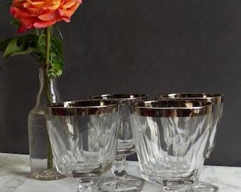 Dorothy Thorpe Style Mid Century Glassware/ Wine Glasses/ Silver Rim Glasses/ Vintage Wine Glasses/ Wine Gift/ Goblets