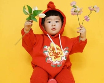 baby sitter candy romper hoodie suit