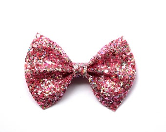 Candy Pink Glitter Bow Photo Prop Pictures Headband for Newborn Baby Little Girl Child Adult Spring Summer Valentines Easter Pretty Clip