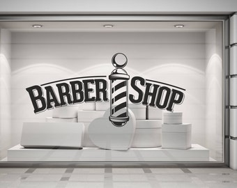 Barber Shop. Barbers Pole, Wall/Window Shop art, vinyl decal sticker. Various colours and size options.(#172)