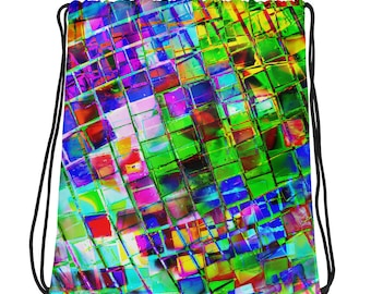Rainbow Mirror Ball Drawstring bag