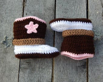 6-12 Month Cowgirl Boots; Western Baby Booties; Crocheted Cowboy Boots; Baby Shoes with Spurs; Handmade by Anna