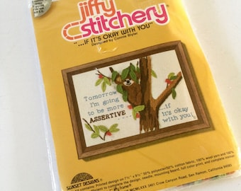 Jiffy Stitchery Crewel Kit, KOALA, Tomorrow I'm going to be more ASSERTIVE...if it's okay with you, vintage 1980 by Sunset Designs, sealed