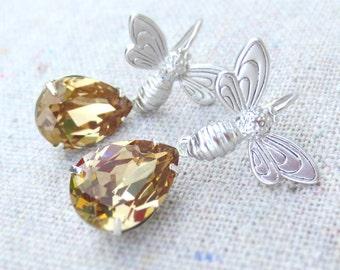 Swarovski Crystal Light Colorado Topaz Pale Amber Faux Honey Teardrop Matte Silver or Gold Honey Bumble Bee Dangling Drop Tear Earrings