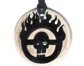 Skull with Flames Ceramic Necklace in Tan Crackle